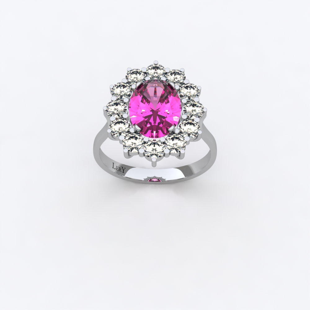 848c9328dd4 Bague Marguerite Classique – Saphir rose