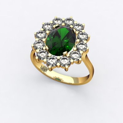 bague-entourage-marguerite-or-jaune-diamants-emeraude-0